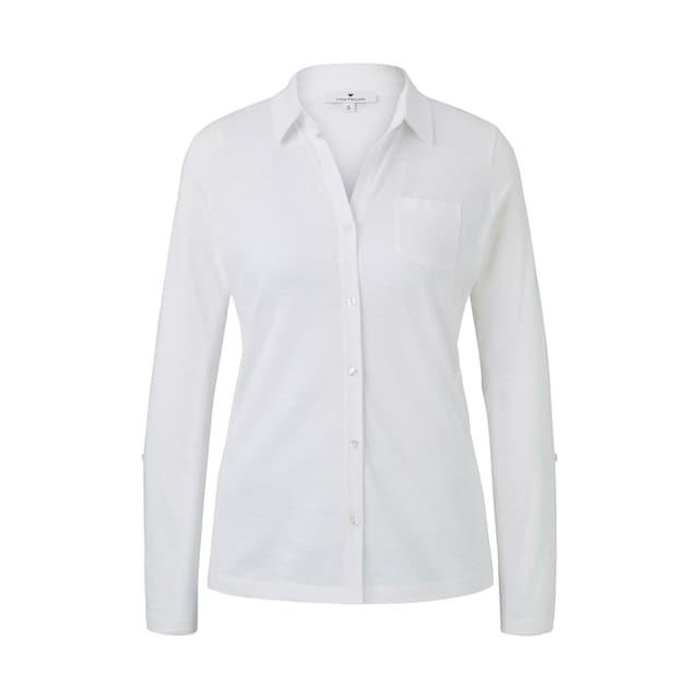 TOM TAILOR T-Shirt »Hemdbluse mit seitlichem Ripp-Einsatz«