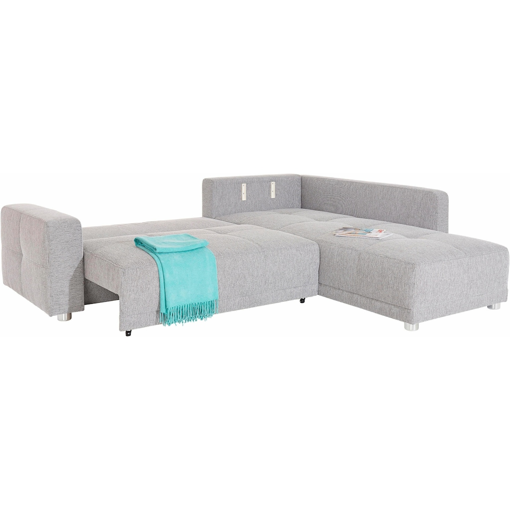 Places of Style Ecksofa, mit Bettfunktion und Bettkasten, wahlweise mit 1 oder 3 Kopfstützen
