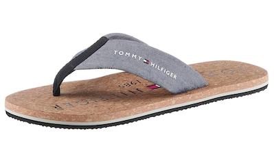 TOMMY HILFIGER Zehentrenner »CORK BEACH SANDAL«, mit Decksohle in Korkoptik kaufen