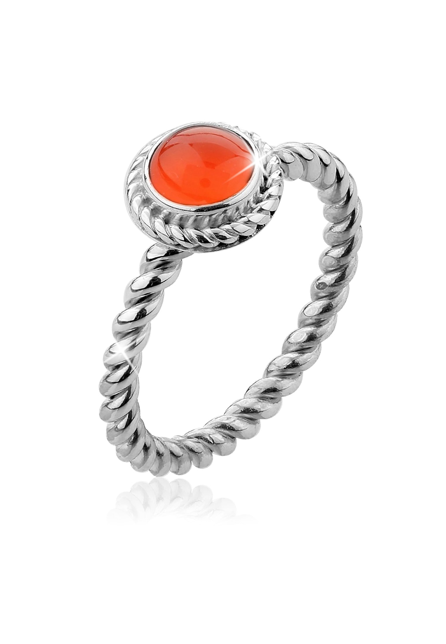 Nenalina Fingerring Karneol Geburtsstein September Boho 925 Silber | Schmuck > Ringe > Fingerringe | Orange | Nenalina