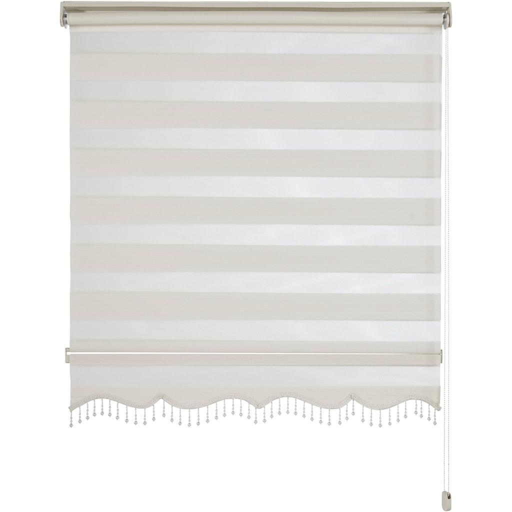 DELAVITA Doppelrollo »Erol«, Lichtschutz, Sichtschutz, mit Bohren, freihängend, mit Perlenabschluss