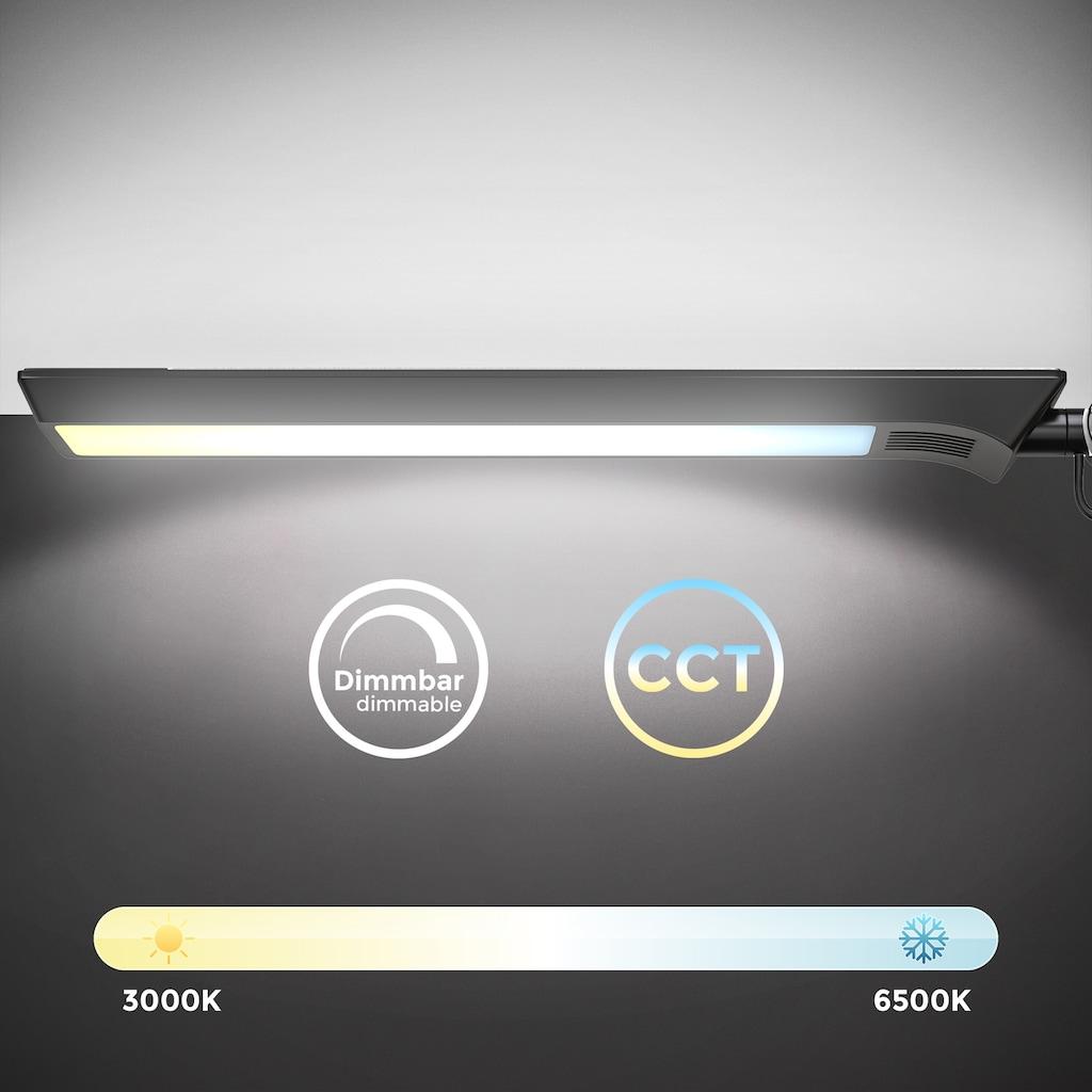 B.K.Licht Klemmleuchte, LED-Modul, 1 St., Kaltweiß-Neutralweiß-Warmweiß, LED Schreibtischleuchte schwenkbar Farbtemperatur einstellbar CCT stufenlos Dimmbar 9W Schreibtischlampe Klemmbreite bis 50mm Schwarz-Silber