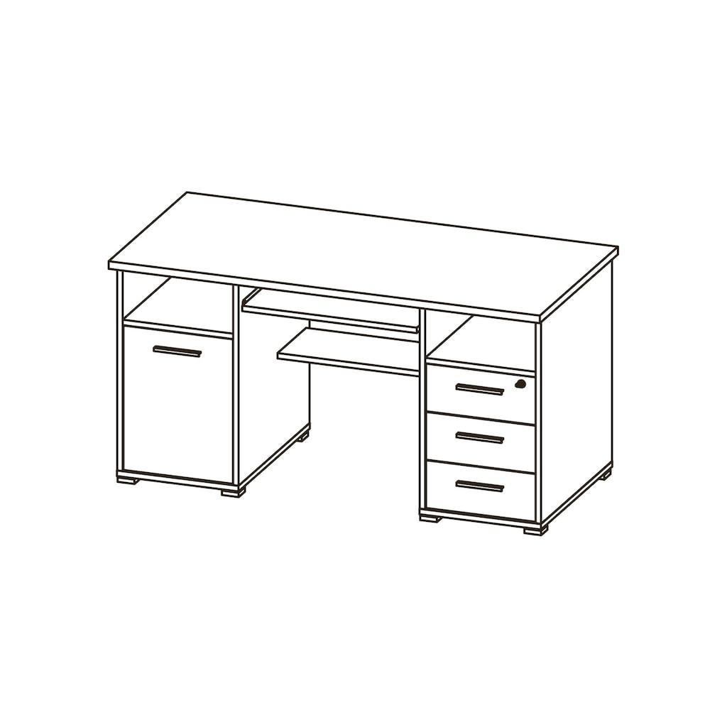 GERMANIA Computertisch »0484«, mit Tastaturauszug und abschließbarem Schubkasten