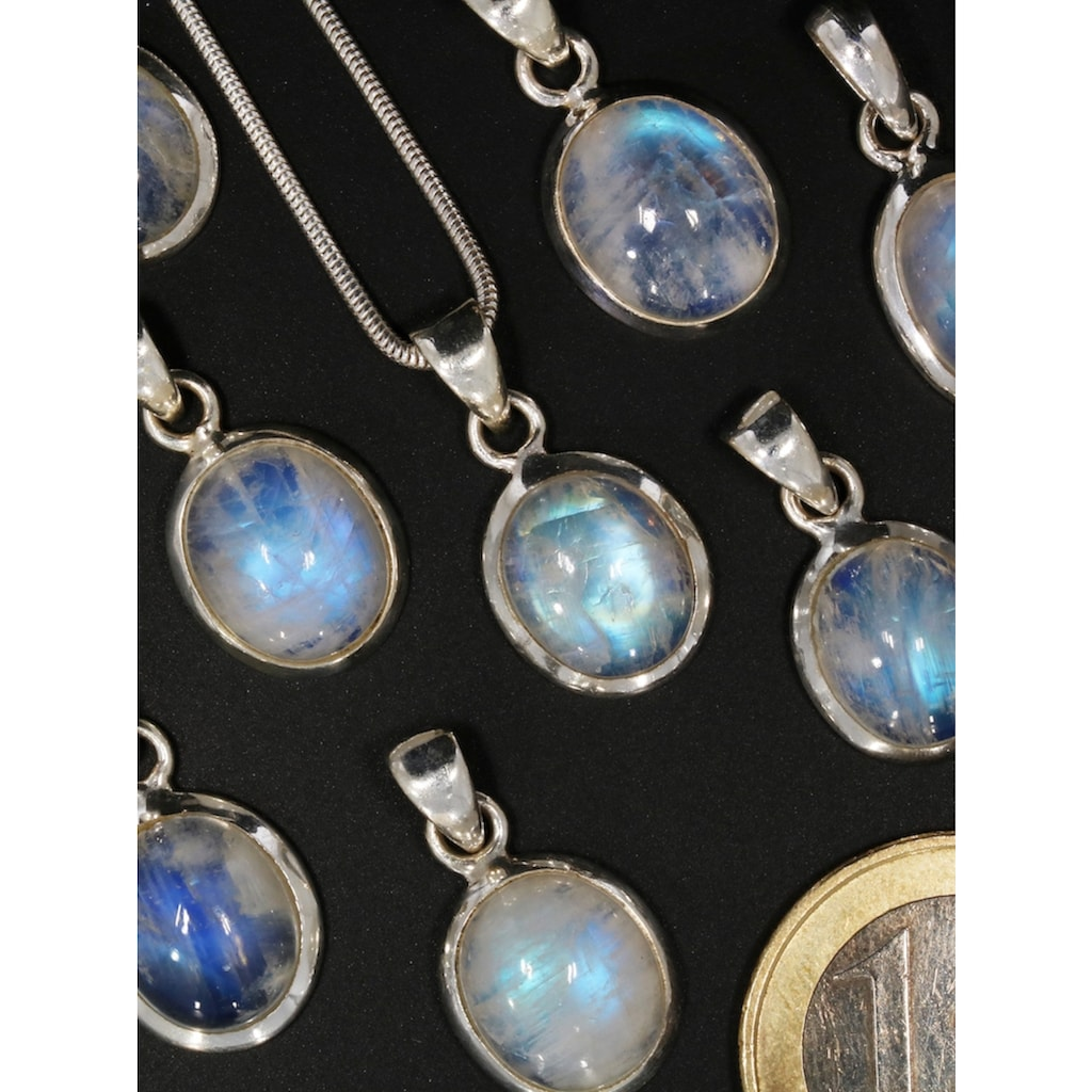 Adelia´s Kettenanhänger »Regenbogenmondstein Anhänger 925 Silber«