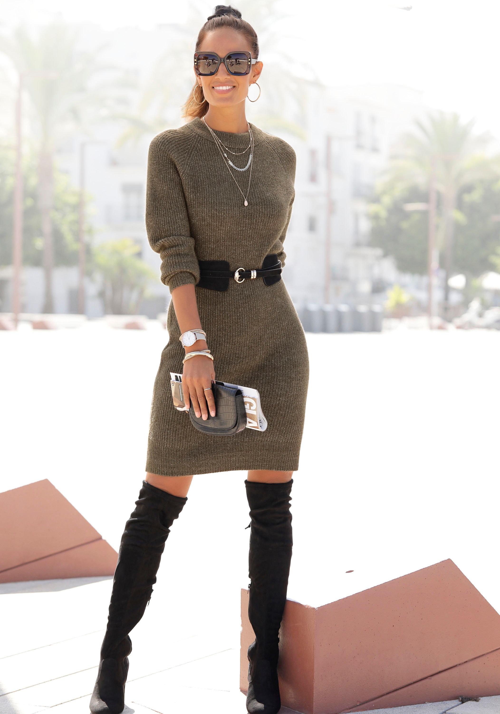 LASCANA Strickkleid, aus weichem Rippstrick grün Damen Strickkleider Kleider Strickkleid