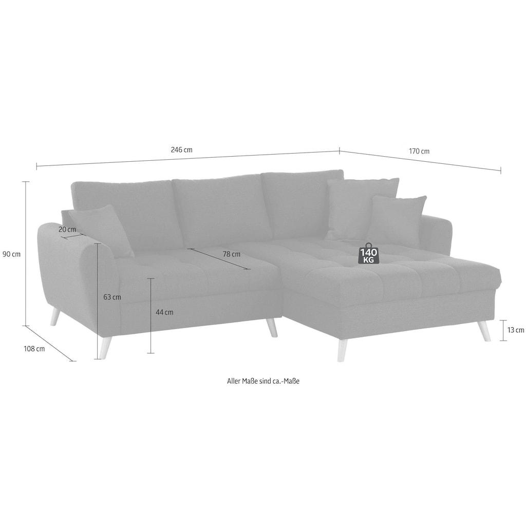 Home affaire Ecksofa »Blackburn Luxus«, mit besonders hochwertiger Polsterung für bis zu 140 kg pro Sitzfläche