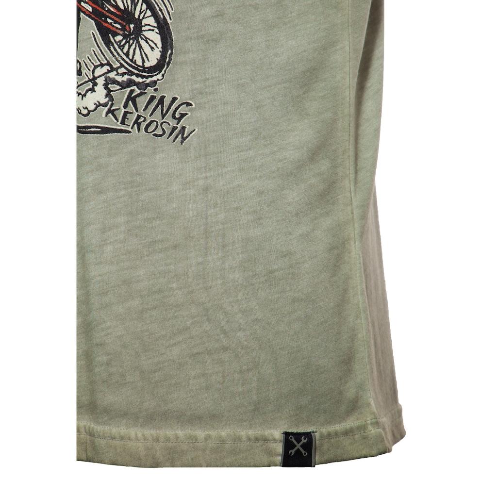 KingKerosin Print-Shirt »Motor Freak«, mit Oilwash-Effekt in Vintage Optik