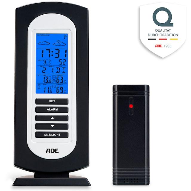 ADE Funkwetterstation »WS1822«, (mit Außensensor), Temperatur, Luftfeuchtigkeit, Uhrzeit, Vorhersage und Außensensor