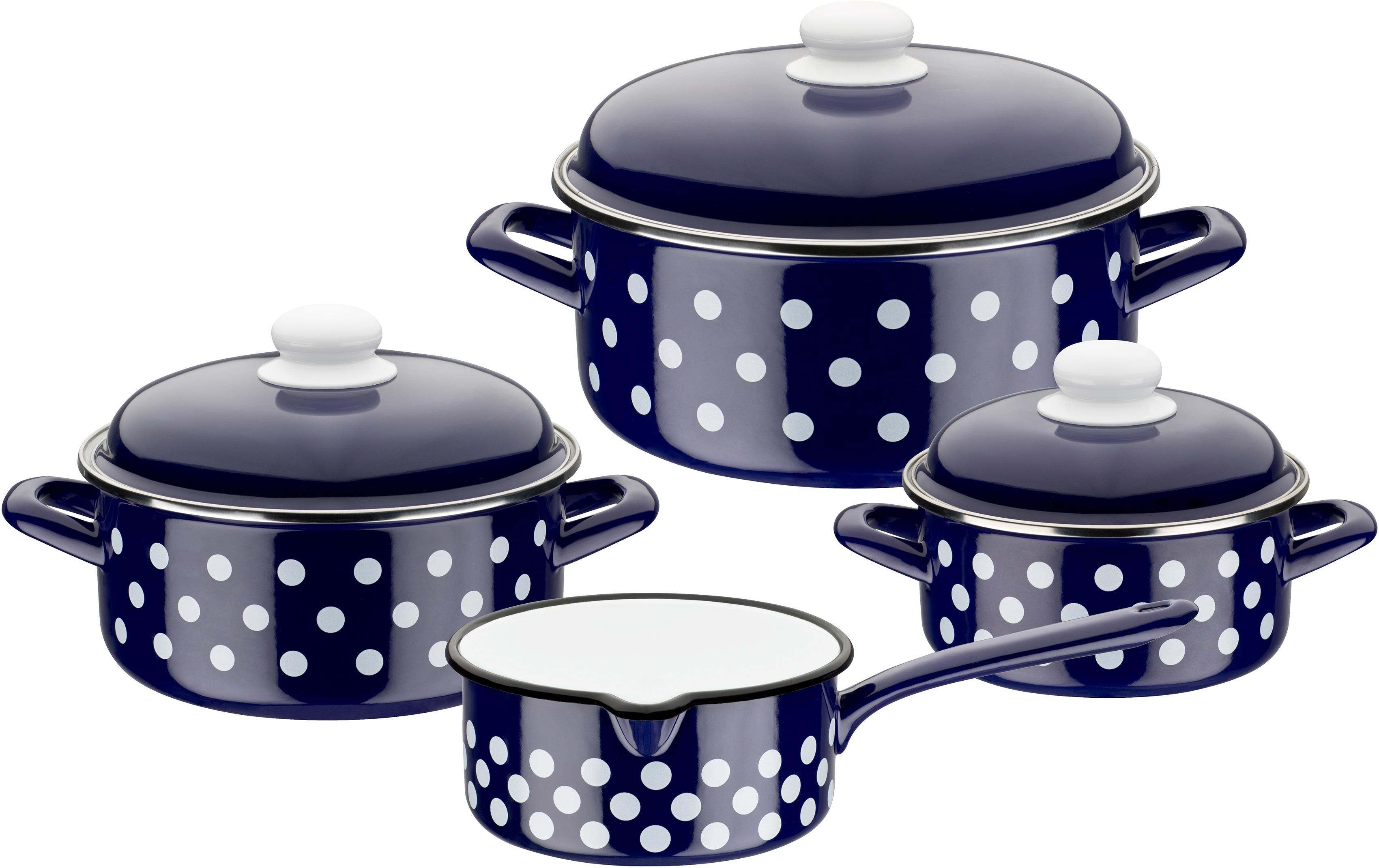 GSW Topf-Set, Stahl-Emaille, (Set, 7 tlg.), inkl. Literskala, Induktion blau Topf-Set Topfsets Töpfe Haushaltswaren
