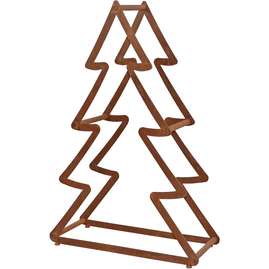 Dekobaum »Weihnachtsbaum«, aus Metall, mit rostiger Oberfläche, Höhe ca. 95 cm