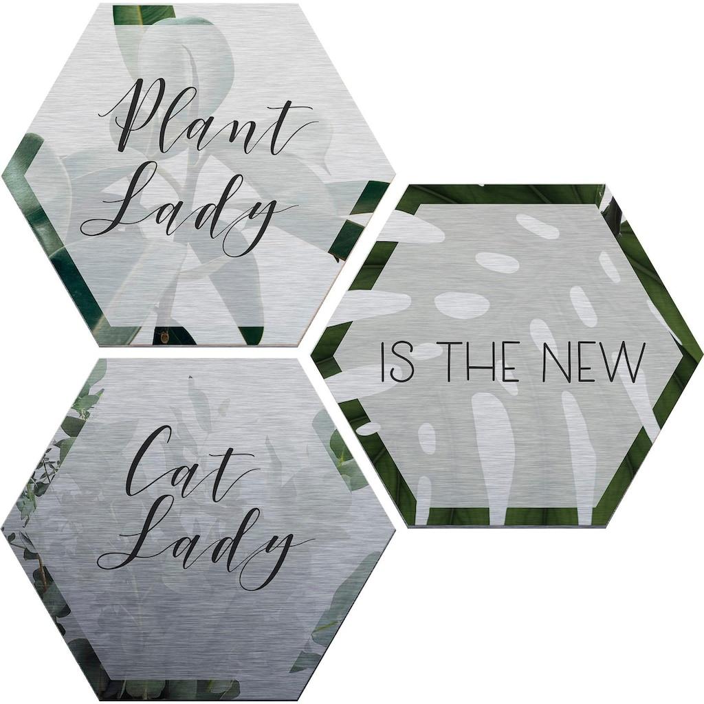 Wall-Art Alu-Dibond-Druck »Plantlady is the new Catlady«, (Set)