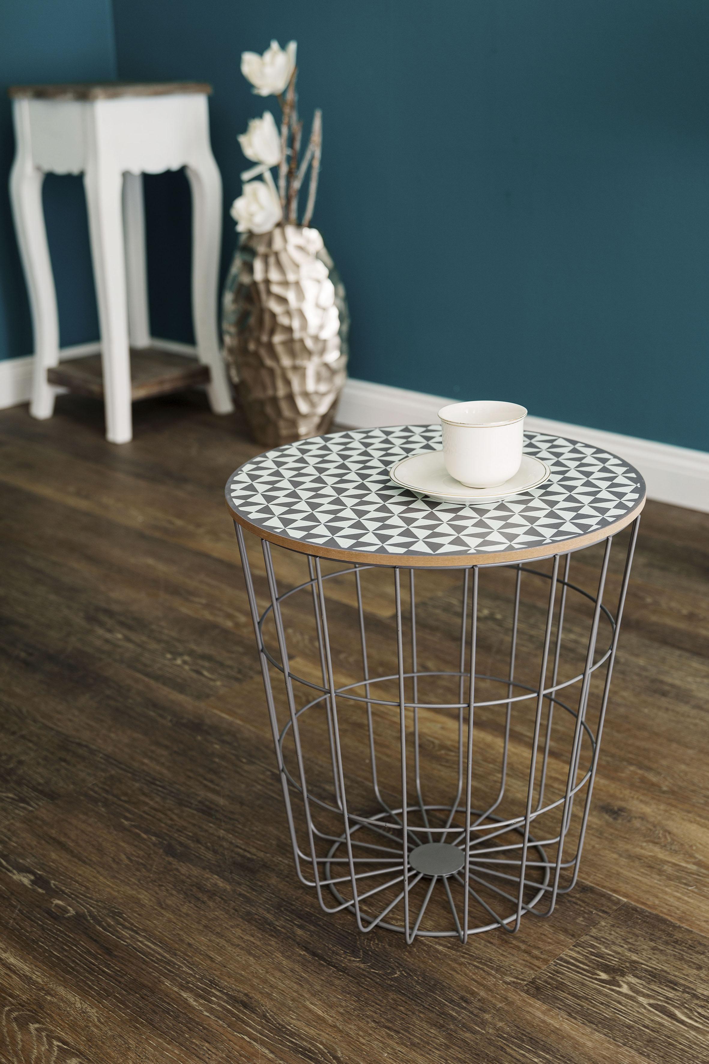 Beistelltisch Eugen, Rund, lackiertem Gestell und Tischplatte, Gemusterte Tischplatte im Skandinavischem Design grau Beistelltische Tische