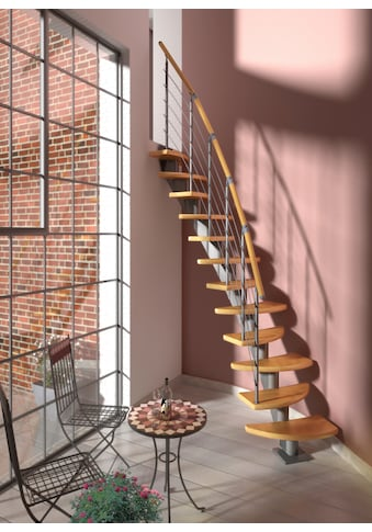 DOLLE Systemtreppe »Berlin«, Edelstahlgeländer mit Holzhandlauf aus Buche, BxH: 64x292 cm kaufen