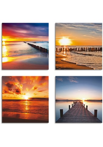 Artland Leinwandbild »Ostsee Strand Sonne Sonnenuntergang«, Strand, (4 St.) kaufen