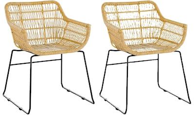SalesFever Kufenstuhl, Rattanstuhl aus Kunststoffgeflecht, im 2er-Set, robust und outdoorgeeignet kaufen