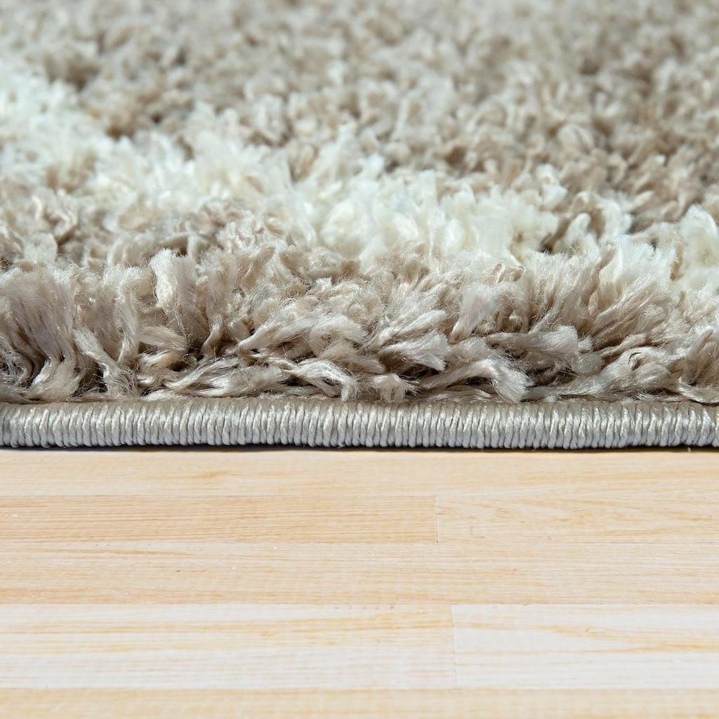 Paco Home Hochflor-Teppich »Helsinki 531«, rechteckig, 45 mm Höhe, Hochflor-Shaggy, Skandinavisches Design, mit Fransen, Wohnzimmer