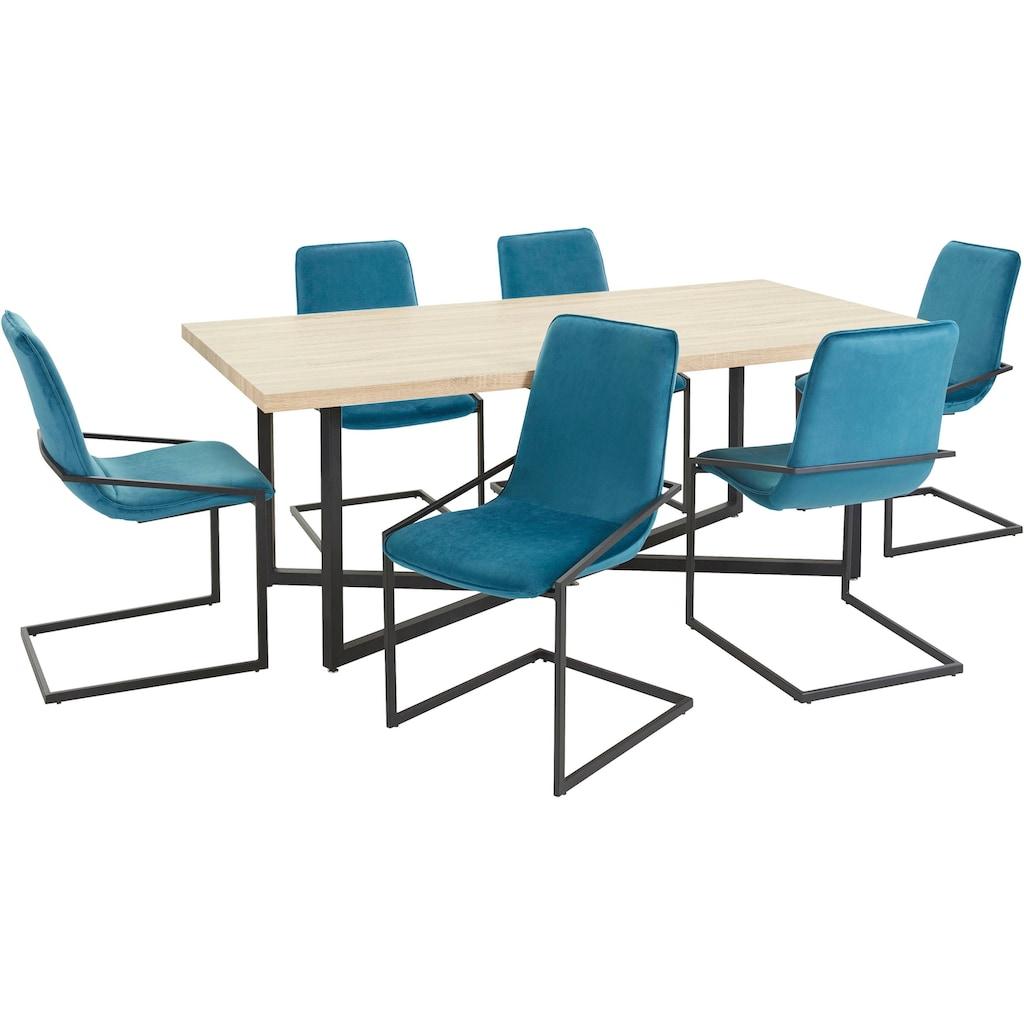 INOSIGN Essgruppe »Domitus«, (Set, 7 tlg.), aus Holzwerkstoff, bestehend aus Claudell Esstisch und 6 Napea Stühlen
