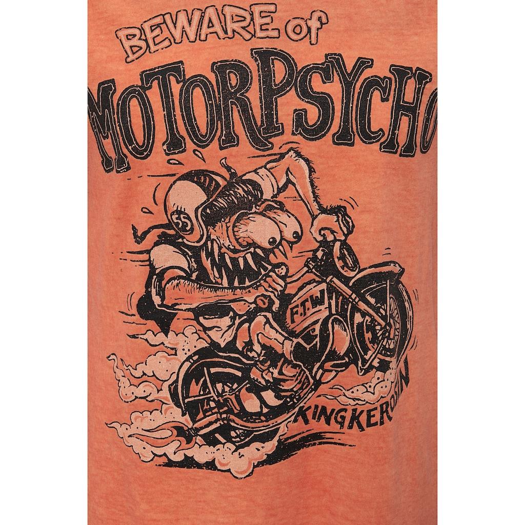 KingKerosin Print-Shirt »Motorpsycho«, im Used Look