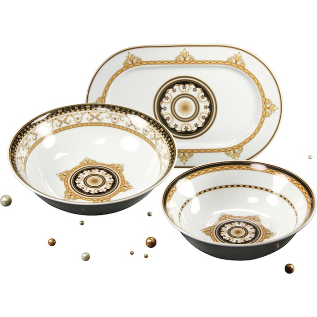 "CreaTable Servier-Set ""Majestosa"", Porzellan, (Set, 3-tlg., 2 Schüsseln, 1 Platte)"