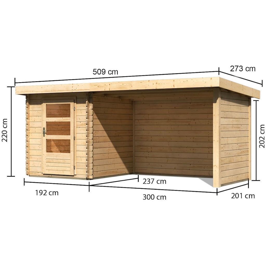 KONIFERA Set: Gartenhaus »Schloßsee 1«, BxT: 509x273 cm, mit Anbau inkl. Seiten- und Rückwand