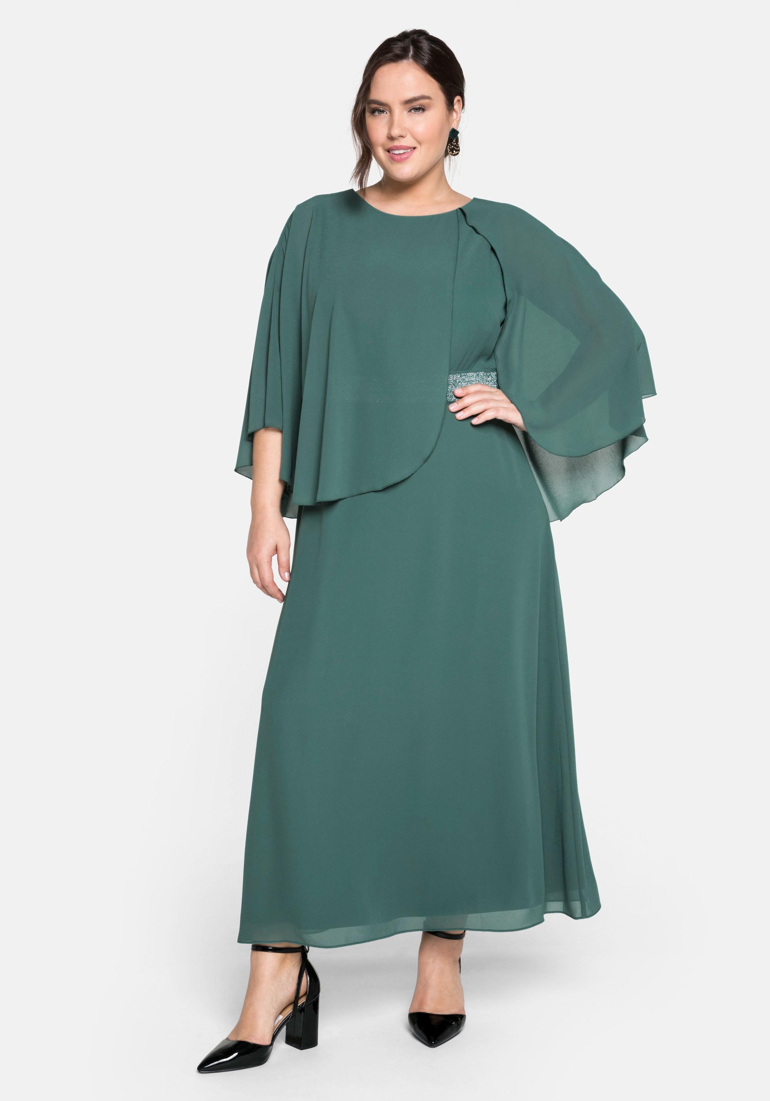 sheego -  Abendkleid, bodenlang, mit asymmetrischem Chiffon-Cape