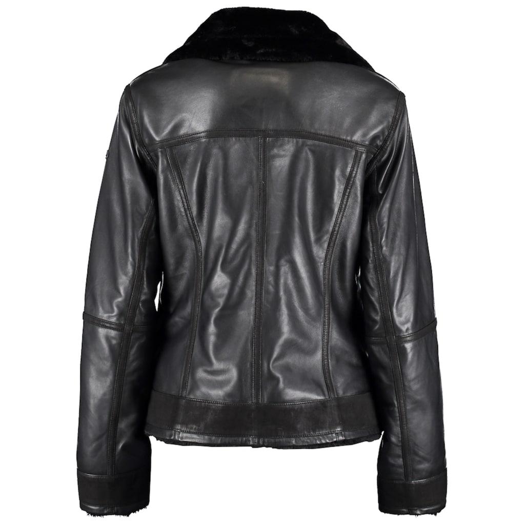 DNR Jackets Damen Lederjacke mit Kunstfelleinsatz und Außentaschen
