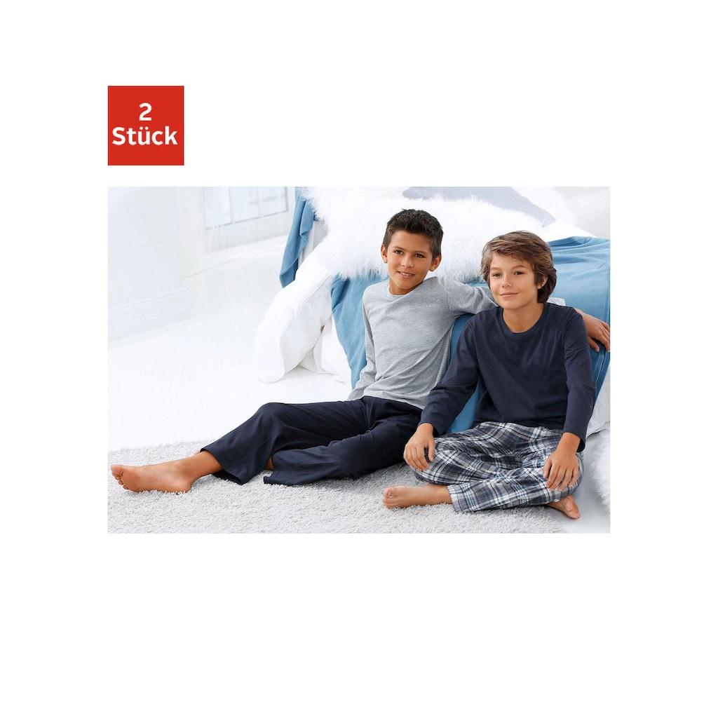 le jogger® Pyjama, in langer Form, Hose 1x uni und 1x kariert