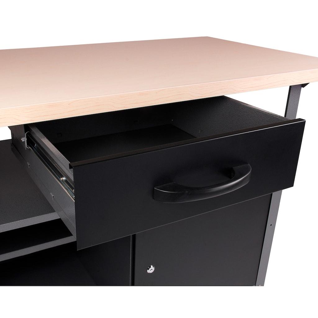 ONDIS24 Werkstatt-Set, 2x Werkbank, 2x Werkstattschrank, 2x Lochwand