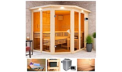 KARIBU Sauna »Aaina 3«, 245x210x202 cm, 9 kW Ofen mit ext. Steuerung, Dachkranz kaufen