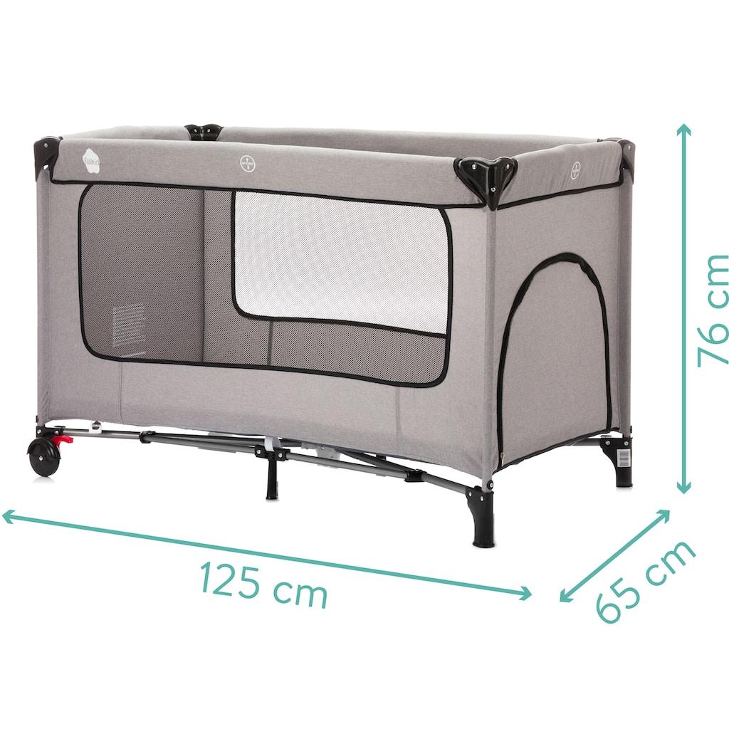 Fillikid Baby-Reisebett »Reisebett mit Komfortmatratze, hellgrau melange«, inkl. Transporttasche