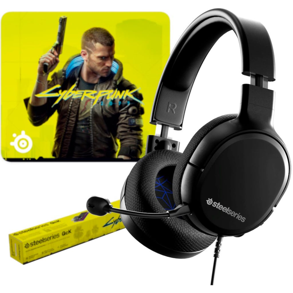 SteelSeries Gaming-Headset »Bundle Arctis 1 (PS5) + QcK Large Cyberpunk Edition«