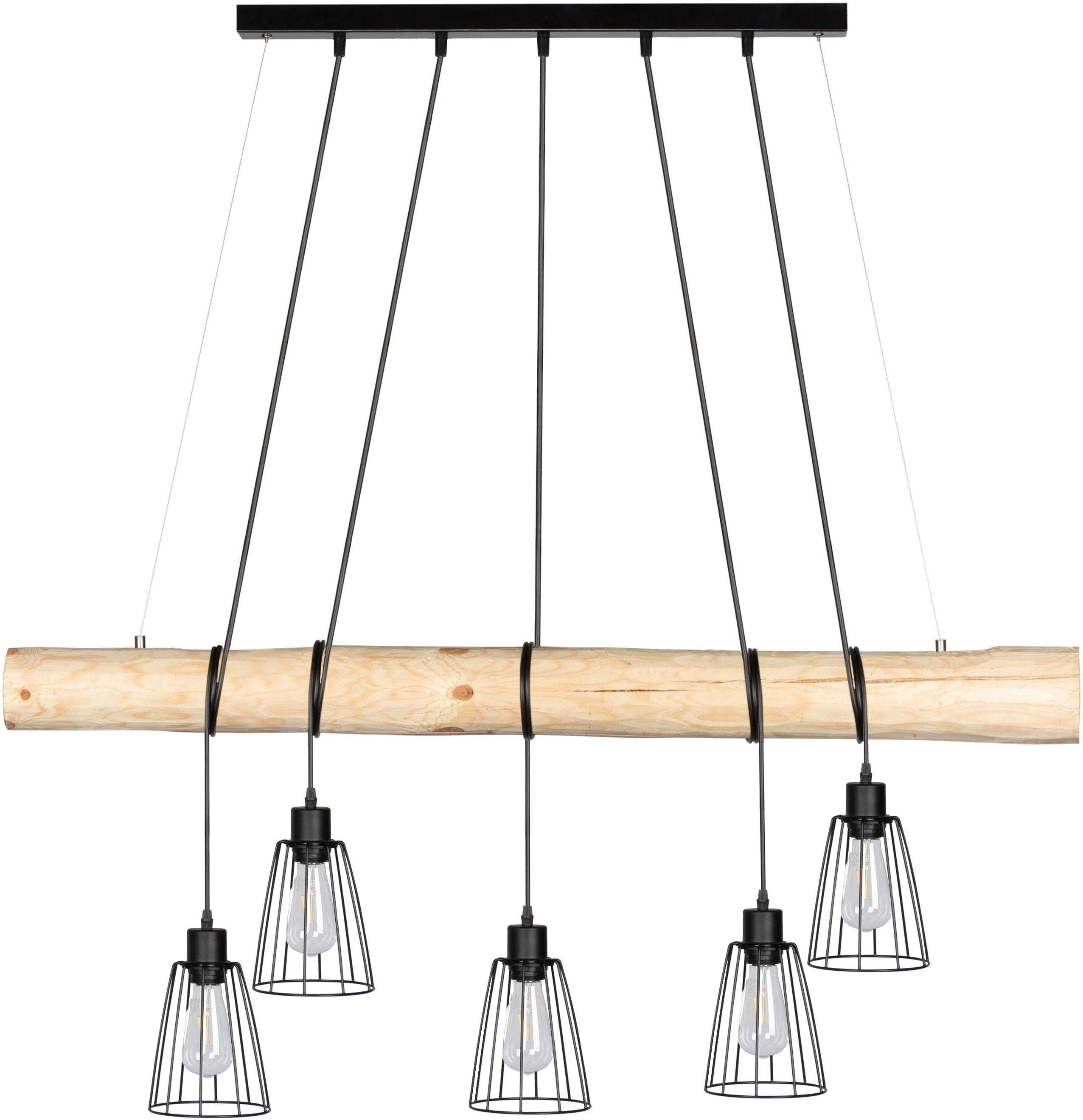 SPOT Light Pendelleuchte TRABO LONG, E27, Hängeleuchte, mit Massivholzbalken Ø 8-12 cm, Naturprodukt mit FSC-zertifikat, Kürzbar, passende LM E27, Made in Europe