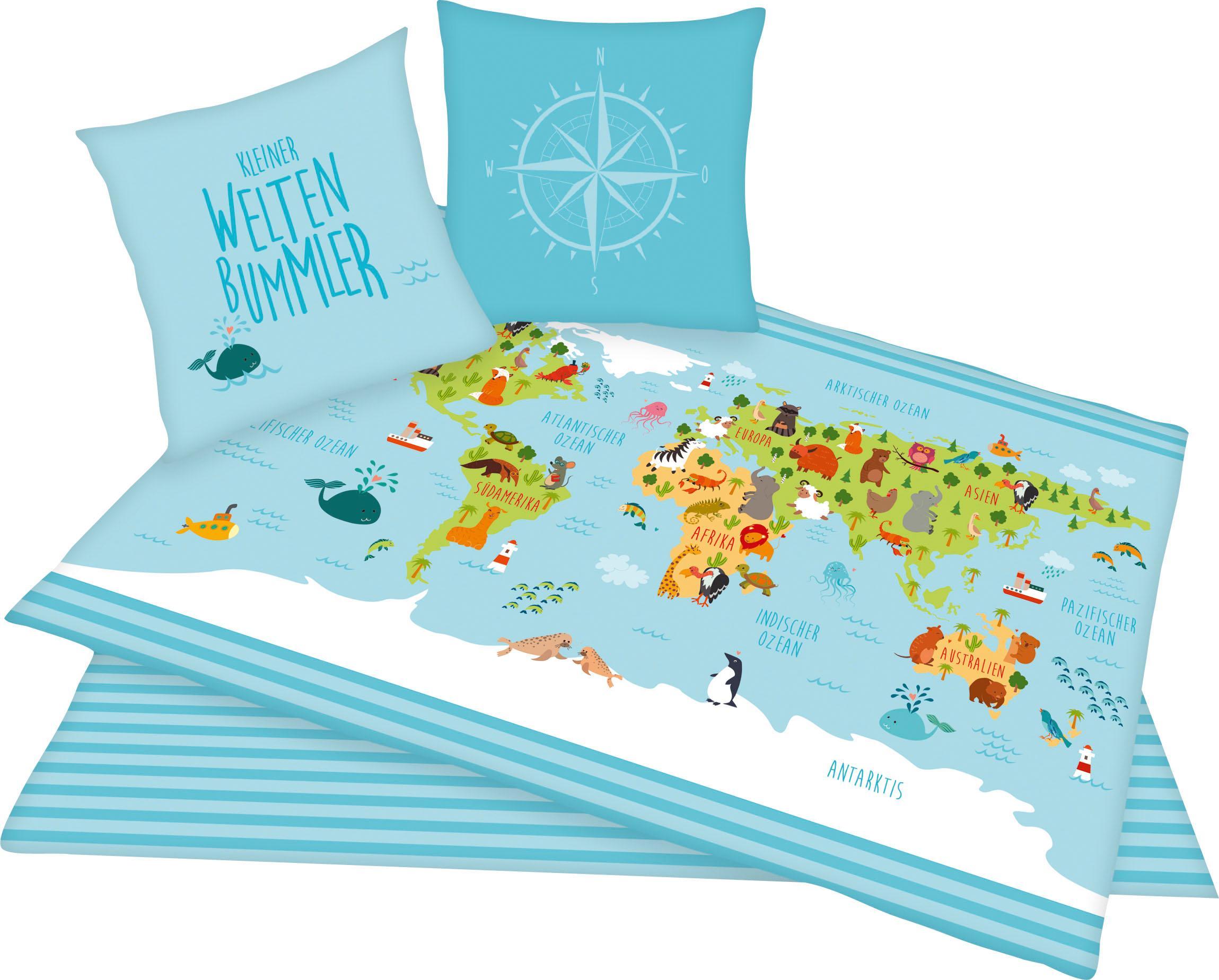Kinderbettwäsche Weltkarte Herding Young Collection