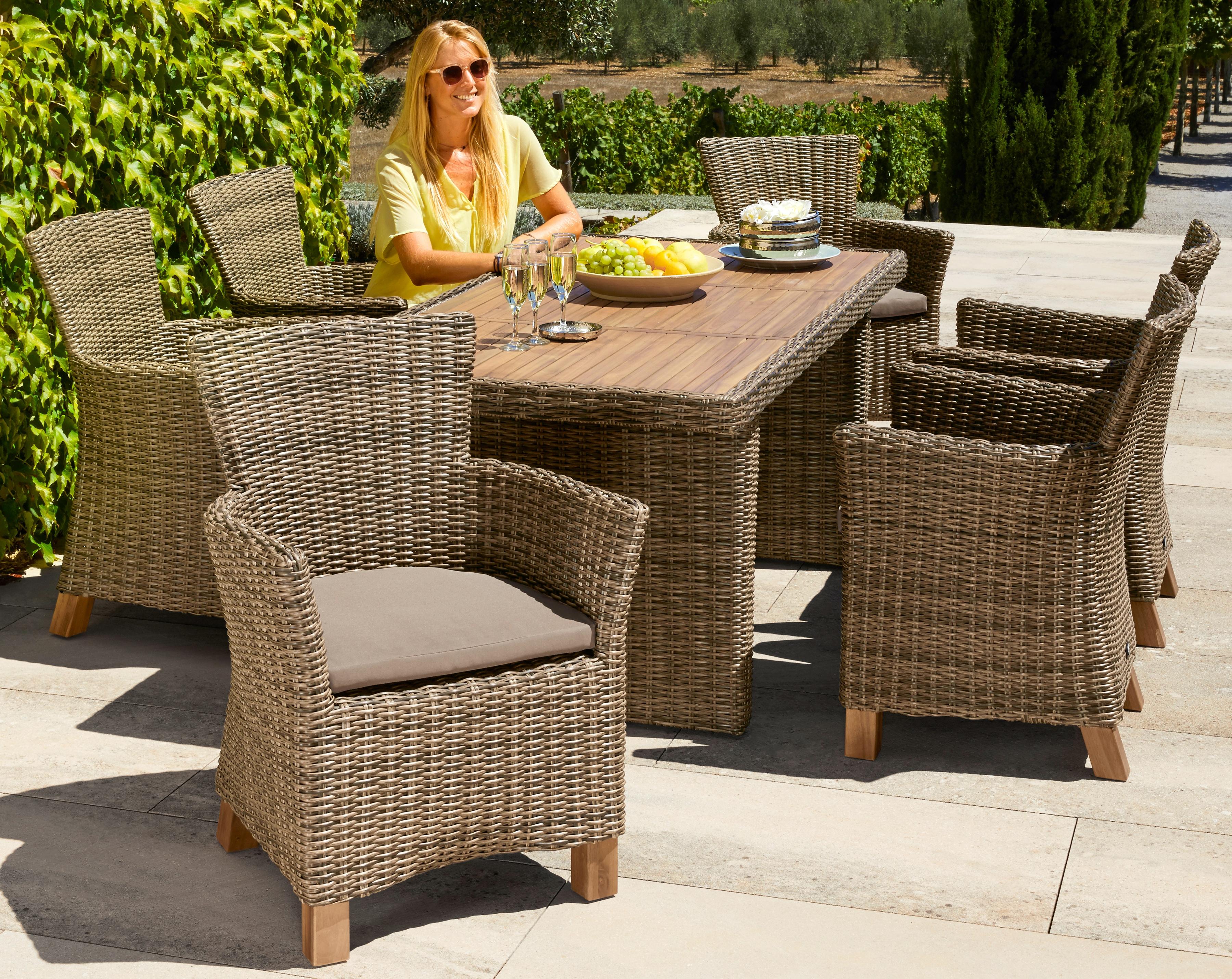 MERXX Gartenmöbelset Toskana 13-tlg 6 Sessel Tisch 185x90 cm Polyrattan/Akazie