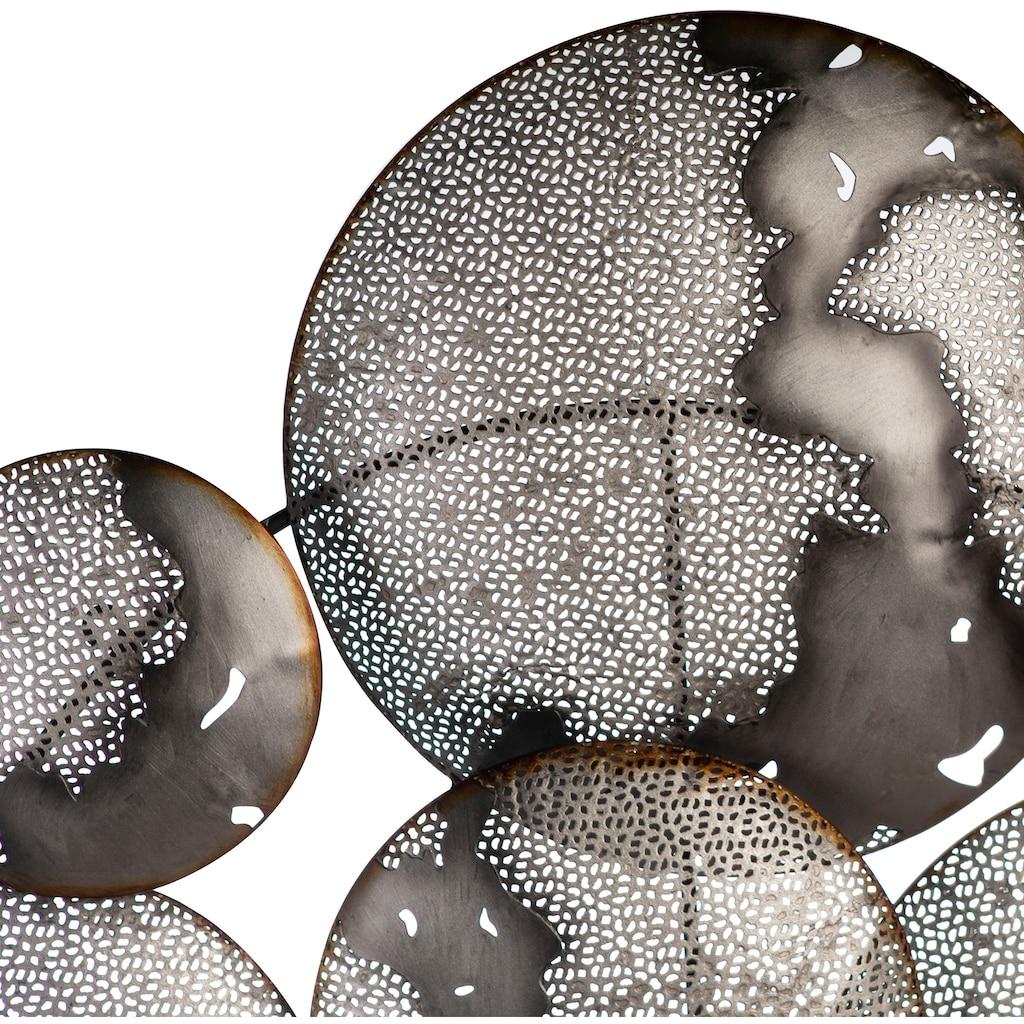 Casablanca by Gilde Wanddekoobjekt »Wandrelief Galaxy«, Wanddeko, aus Metall, handgearbeitet, bestehend aus 9 runden Scheiben, Wohnzimmer