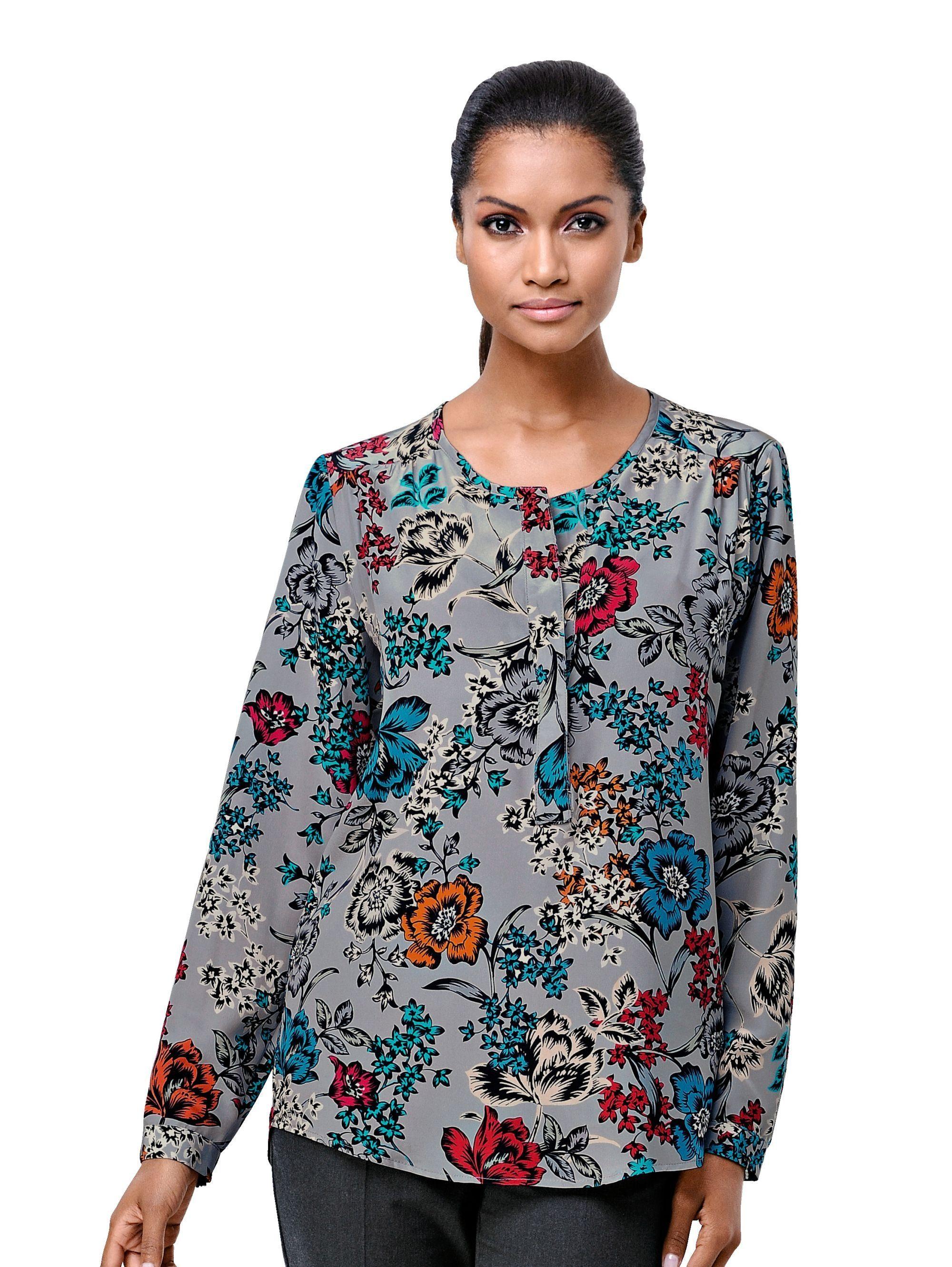 Alba Moda Tunika in edler Seiden-Qualiät mit floralem Print