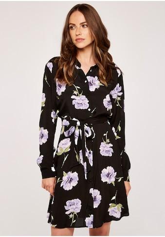 Apricot Hemdblusenkleid »Peony Print Self Tie Shirt Dress«, (mit Bindeband), mit Bindegürtel kaufen