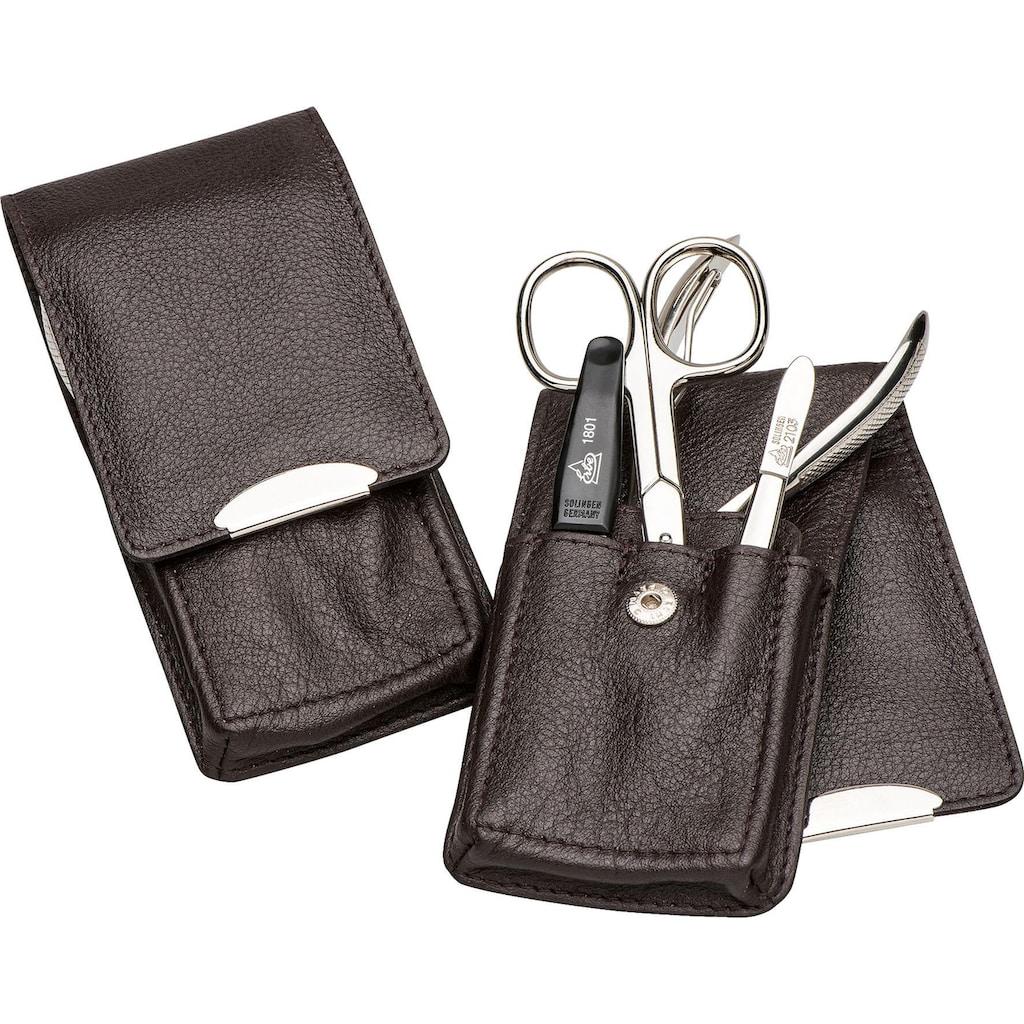 ERBE Maniküre-Etui »Stecketui mit Druckknopfverschluss aus echtem Leder«, bestückt mit Solinger Premium Stahlwaren
