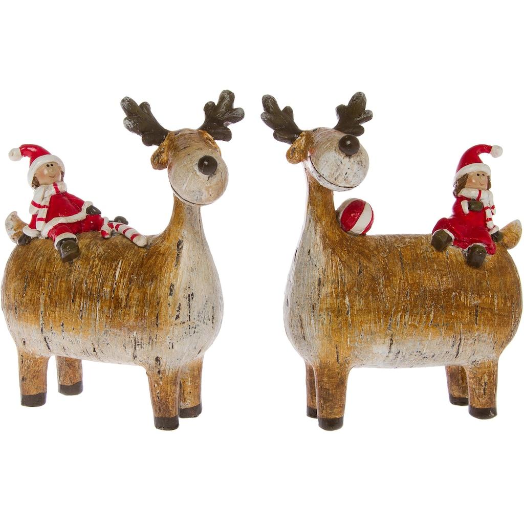 Weihnachtsfigur »Rentiere mit Wichtel«
