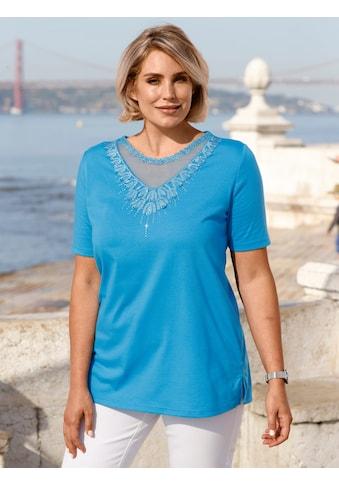 m. collection Kurzarmshirt, mit transparentem Netzeinsatz am Ausschnitt kaufen