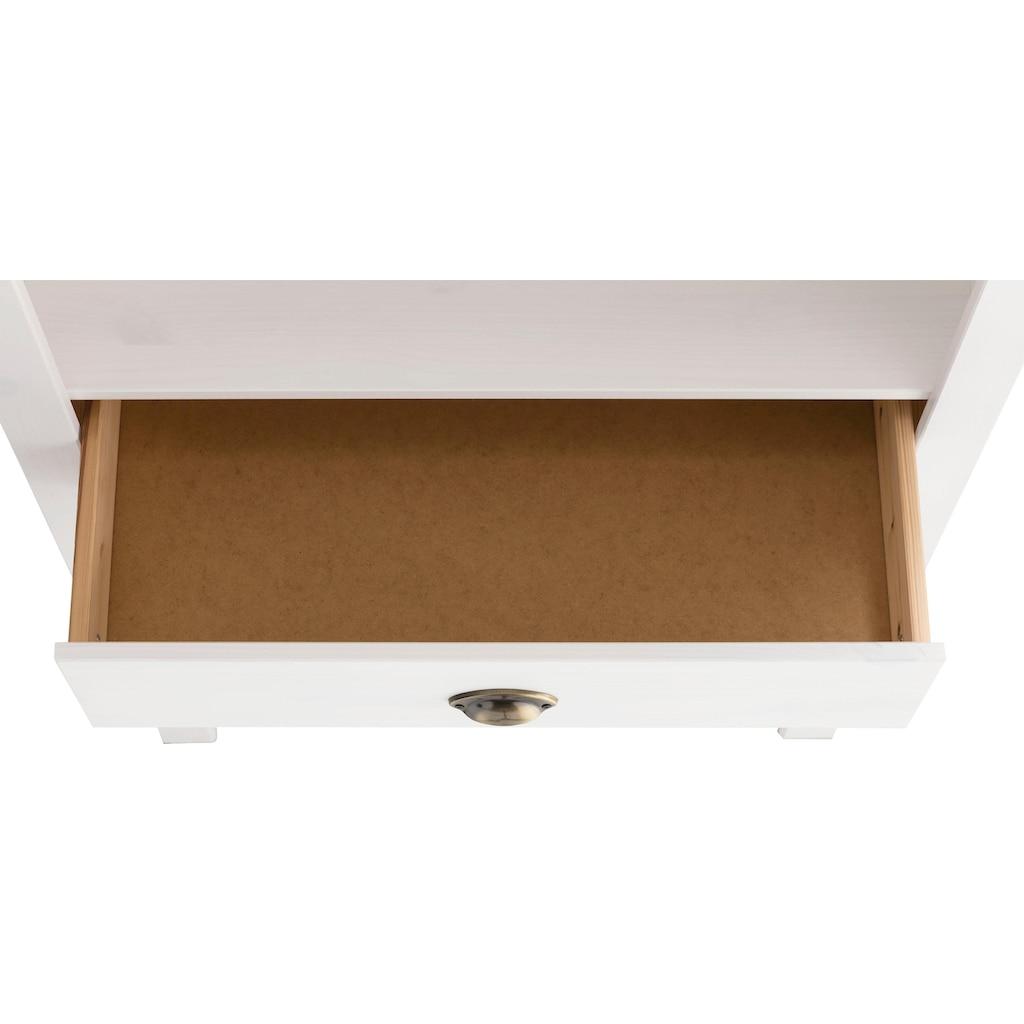 Home affaire Regal »Oslo«, 75 cm breit, 205 cm hoch, 2 Schubladen, 4 Fächer, aus massiver Kiefer, Metallgriffe