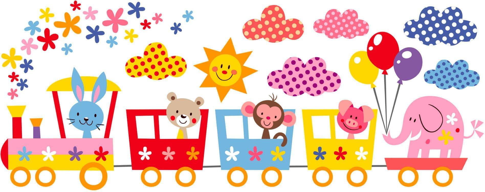 Wandtattoo Lustige Tiere im Zug Wohnen/Accessoires & Leuchten/Wohnaccessoires/Wandtattoos und Wandsticker/Wandtattoos Tiere