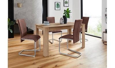 Homexperts Essgruppe »Nick3-Mulan«, (Set, 5 tlg.), mit 4 Stühlen, Tisch in eichefarben sägerau, Breite 140 cm kaufen