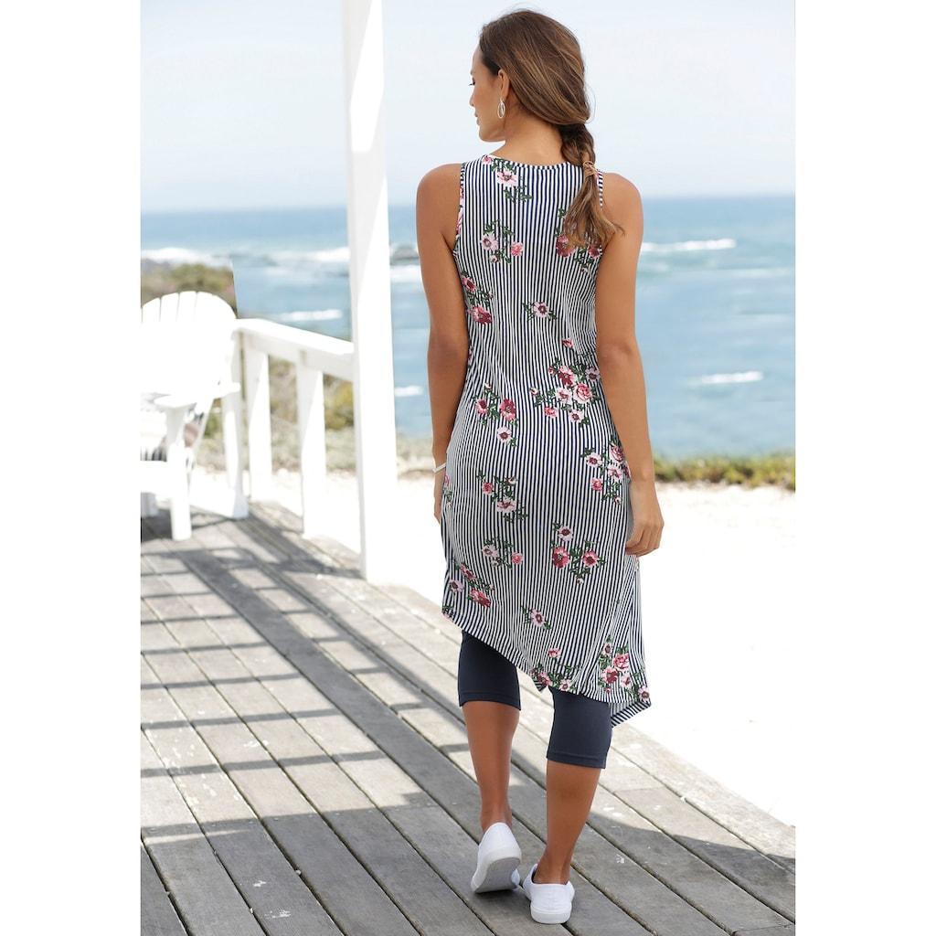 Beachtime Longtop, (Set, 2 tlg., mit Leggings), mit Streifenprint und Blumen