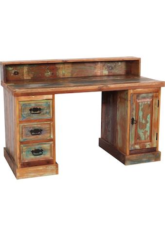 SIT Schreibtisch, Sekretär aus recyceltem Altholz mit Farbresten kaufen