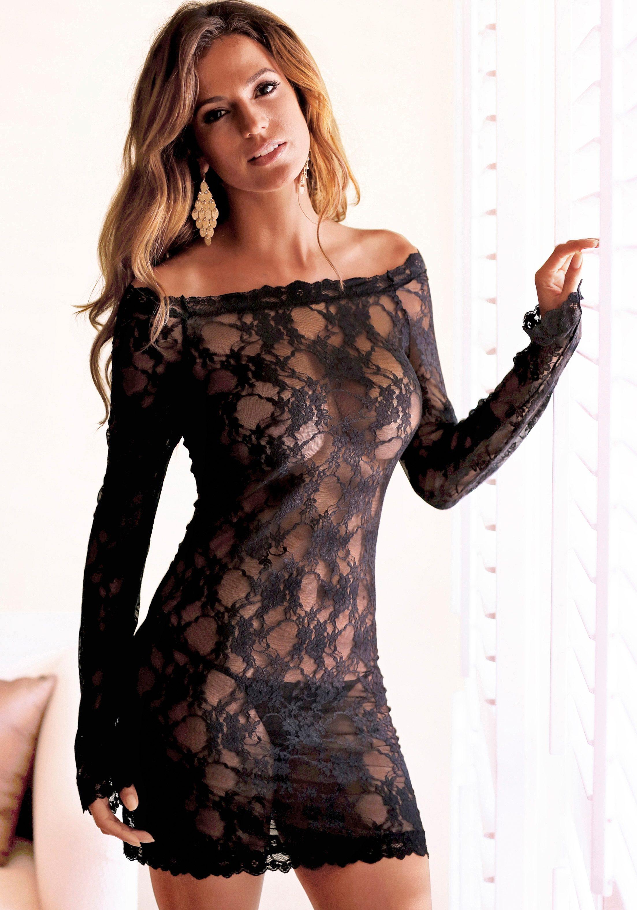 LASCANA Spitzenkleid, aus Spitze schwarz Damen Spitzenkleid Spitzenkleider Kleider