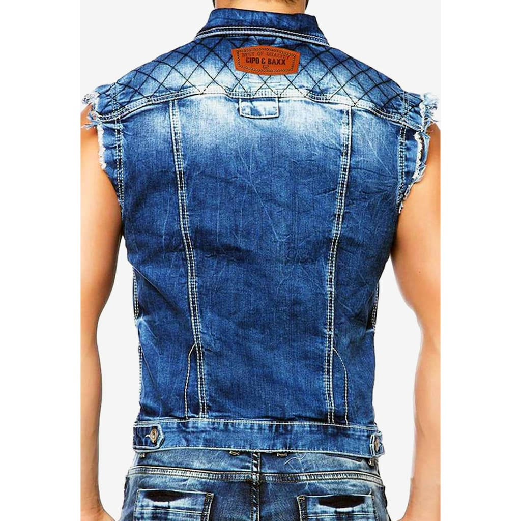 Cipo & Baxx Jeansweste, mit coolem Hemdkragen