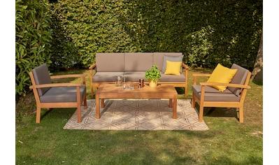 SIENA GARDEN Loungeset »Tavira«, 14 - tlg., 2er Sofa, 2 Sessel, Tisch 40x120 cm, Eukalyptus kaufen