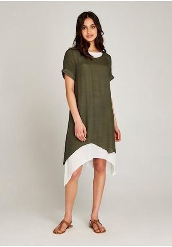 Apricot A-Linien-Kleid »Slub Shimmer Turn Up Slv Dress«, mit Lagenlook kaufen