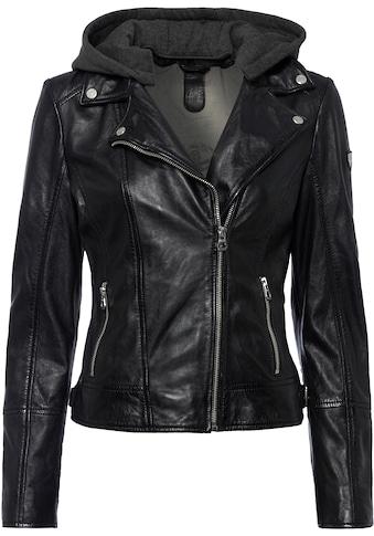 Gipsy Lederjacke »Ela«, coole 2-in-1-Bikerjacke mit abnehmbarer Jersey-Kapuze kaufen